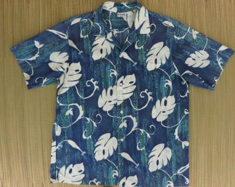 Vintage Hawaiian Shirt 60s PA'ANI Tribal Tiki Aloha Mens - L - Oahu Lew's Shirt Shack