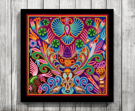 Mexican Wall Art Huichol Print Mexican Decor Huichol Art