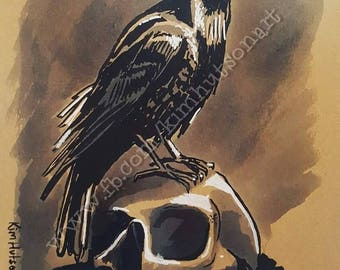 Raven and Skull giclee print
