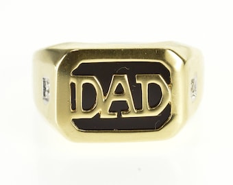 10k Black Onyx Dad Overlay Diamond Accented Ring Gold
