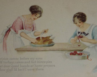 Sisters Prepare Thanksgiving Dinner Antique Thanksgiving Postcard Pink of Perfection