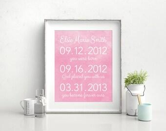 Adoption Dates Art, Adoption Wall Art, Adoption Keepsake, Adoption Gift, Birth Announcement, Birth Details, Gift for an adopted child