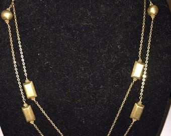 Long 14k Gold Filled Link Station Link  Round and Rectangular beads with Florentine Finish