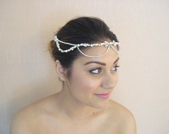 Bridal Headband, Silver or Gold Finish Wedding Headpiece, Swarovski Pearls, Crystals and Rhinestone Chain, Combs - Eva
