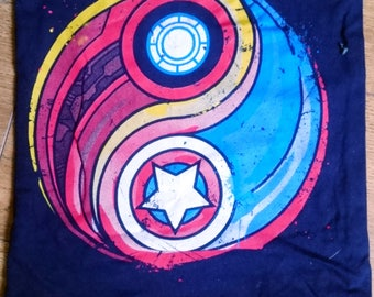 Captain america, ironman, yin yang, triskele, cushion, character, pillow, cover only