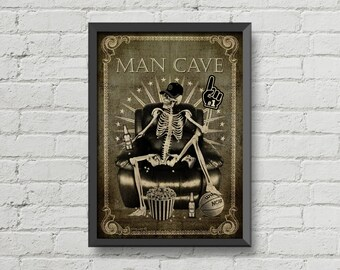 A cool skeleton print for a Man cave,skull,wall decoration,man cave gift,poster,Home Decor,gothic,horror,vintage,creepy,gift,digital print