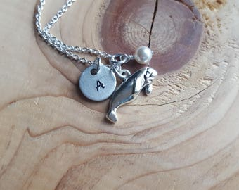 Manatee Charm Necklace -Manatee Charm with an an initial charm and accent bead in your choice of colors