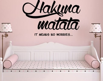 Hakuna Matata Wall Decal Quote Vinyl Sticker Decals Quotes Hakuna Matata Quote Decal Kids Boys Girls Gift Baby Room Wall Decor Nursery ZX214
