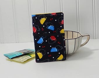 Tea wallet - fabric teabag caddie -tea drinker gift - tea bag case - 4 pockets - gift for tea drinker - travel tea case