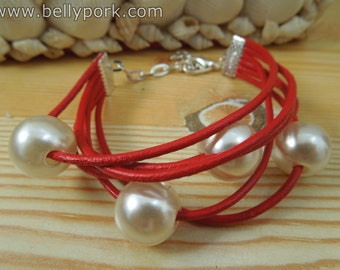 Red bracelet,red cuff,leather cuff,leather bracelet,pearl cuff,pearls cuff,pearls bracelet,red pearls cuff, pearls jewelry,beaded bracelet