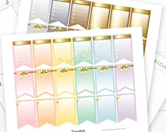 Pastel and Gold All Pro Banner Printable Planner Stickers for MAMBI Happy Planner
