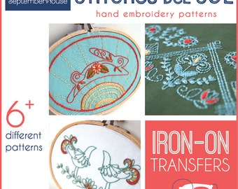 Embroidery Patterns Stitches del Sol iron on transfers for hand embroidery, Mexican Inspired Folk Embroidery Patterns, Modern Embroidery