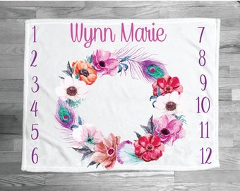 SALE Personalized Baby Blanket monthly Baby Blanket Name Blanket Month picture blanket milestone