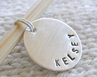 """Personalized Knitting / Crochet Stitch Markers - Hand Stamped Sterling Silver - 3/4"""" Disc Removable Markers in 6 Styles - Knitters Gift"""