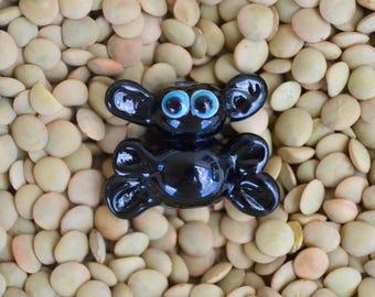 Halloween Bat Bead, Handmade Flameworked Glass Bead, Blue Eyed