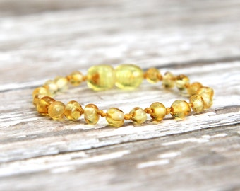 Baltic Amber Teething Anklet, polished amber bracelet, natural pain relief, baby teething jewelry, beaded anklet