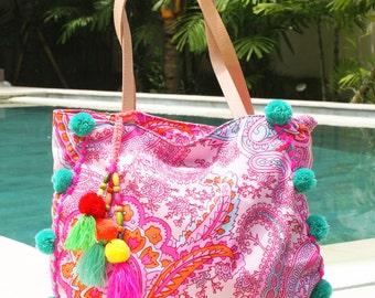 Pom Pom beach bag/Tassels beach bag/Boho Bags/Yoga Bag /Diapers bags/ Weekend bags * IPANEMA BEACH BAG