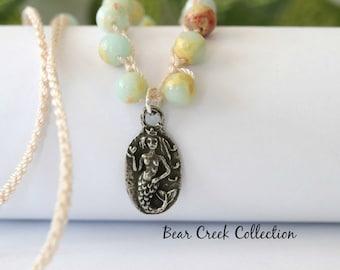 Mermaid Gemstone crochet Necklace, Love Bravely, Organic, Artisan Pewter 2 sided pendant, Nautical, Beach, Summer, Boho Chic, Jewelry