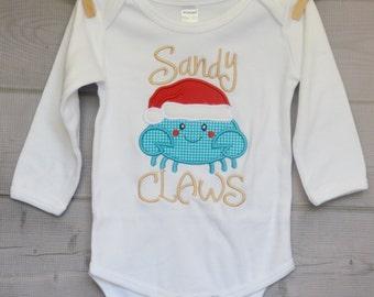 Christmas Santa Crab Applique Shirt or Onesie Boy or Girl