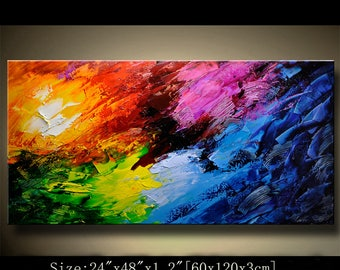 Abstract Wall Painting,colorful painting,framed art for walls in living room,Landscape Painting,Palette Knife Painting on Canvas by Chen 722
