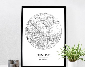 Nanjing Map Print - City Map Art of Nanjing China Poster - Coordinates Wall Art Gift - Travel Map - Office Home Decor