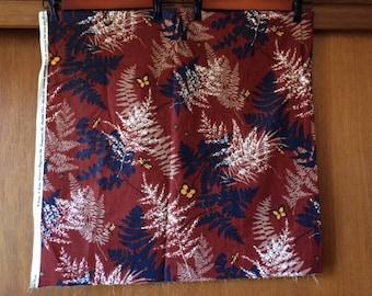 Kouse N Kome Fabrics Brown Blue Fern 70s Fabric