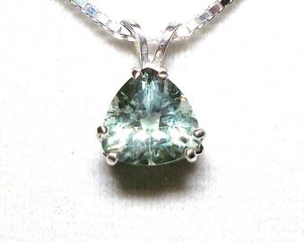 "Prasiolite pendant, green amethyst, quartz pendant, trillion pendant, anniversary, green jewelry, ""French Garden"" """