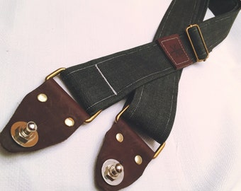 Black Denim Guitar Strap