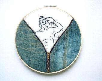 "Embroidery Art ""Denim""/Hoop art/Gay Art"