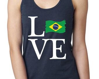 Love Brazil  Women Tops Next Level Racerback Tank Top