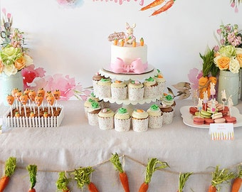 "Bunny Party ""It's Some Bunny's Birthday!"" Watercolor Dessert Table or Party Table Backdrop - DIGITAL DOWNLOAD"