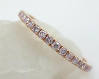 1.5mm Light Pink Diamond Pave Eternity Band - Stacking - Wedding Band