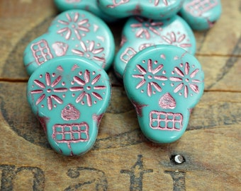 Glass Sugar Skull BeadsTurquoise Lavender Beads 20x16mm Glass Bead Czech Glass Beads (4)