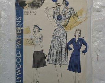 "Darling early 1940s Hollywood nautical 2 pc dress pattern bust 32"" sailor dress"