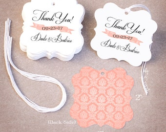 50 THANK YOU Wedding Tags | Personalized Wedding Favor Tags | Damask