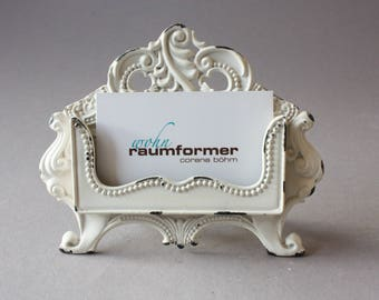 1 Business card holder Shabby, romantic stand Vintage, rustic nostalgic cream, desk decor, gift office