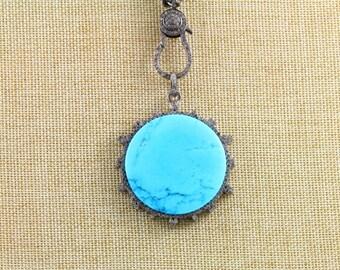 Pave Diamond Pendant, Pave Turquoise Pendant, Pave Turquoise, Diamond Turquoise Charm, Pave Connector, Oxidized Silver. (DCH/PDT/956)