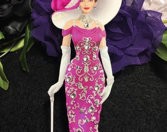 Isabella Victorian Lady Chipboard Embellishments 3D Gems & Bow DarlingArtByValeri Scrapbooking Mini Album Card Making Birds Woman