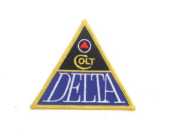 """Vintage Colt Delta Elite Guns Pistols Firearms Shooting Triangle Embroidered Patch 3.5"""" x 3"""""""