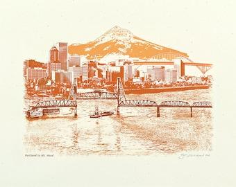Portland Art // Print // Wall art // Oregon Art // Skyline // Cityscape // Portland to Mt. Hood at Sunset - 8.5x11, 11x14, and 16x20 Poster