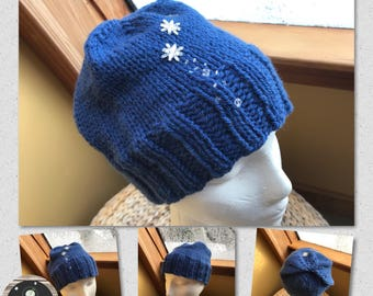 Hand Knit Hand Crafted Ladies Blue Snowflake Winter Accessory Hat Warm and Soft