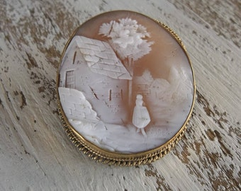 Rebecca at the Well Cameo Brooch Vintage Carved Shell Gold Filled Cameo Pin C Clasp Large Cameo Brooch Gift for Her