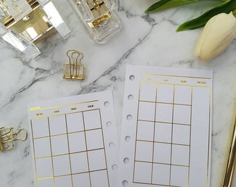 Pocket (PM) Small Gold foil Monthly (MO2P) planner inserts paper | Physical Planner refills for Kikki k, Filofax, Louis Vuitton PM agenda