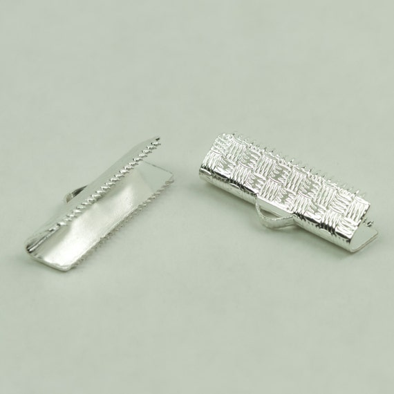 Clasp, 20mm Ribbon Crimp Clasp Shinny Silver in Color 1 set, 2 pieces Approx 3/4 inch