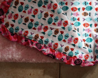 GOING out of BUSINESS SALE Nursery Quilt, Baby Quilt , Patchwork Quilt ,Light weight stroller quilt minky backed