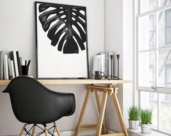 Monstera Leaf Print, Monstera Leaf, Monstera Print, Monstera Art, Print Leaf, Leaf Art Print, 5x7 Art Print, 4x6 Art Print Black and White