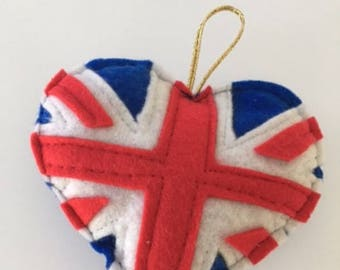 Union Jack Flag Heart Decoration