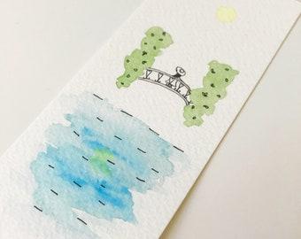Hand painted, bookmark, watercolour, tree, bridge, river, illustration, reflection