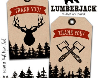 Lumberjack Party Thank You Tag, Favor Tags, Gift Tags, Forest, Woodland Party, Instant Download, Print Your Own