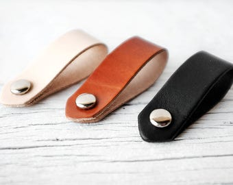 Cord Organizers - Genuine Leather Power Cord Keeper Holder Organizers - Tech Accessory